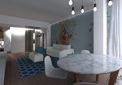 Vista Living Room Con Tavolo In Marmo E Wallpaper Azzuro