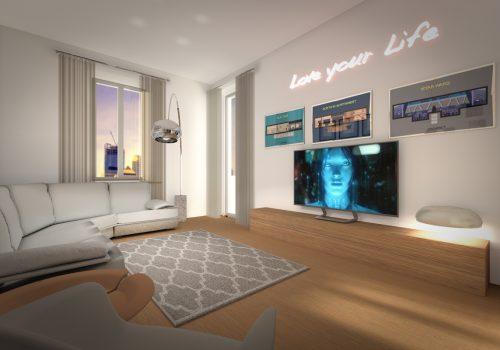 Vista Living Room Appartamento Concorso Per La Rivista Casafacile